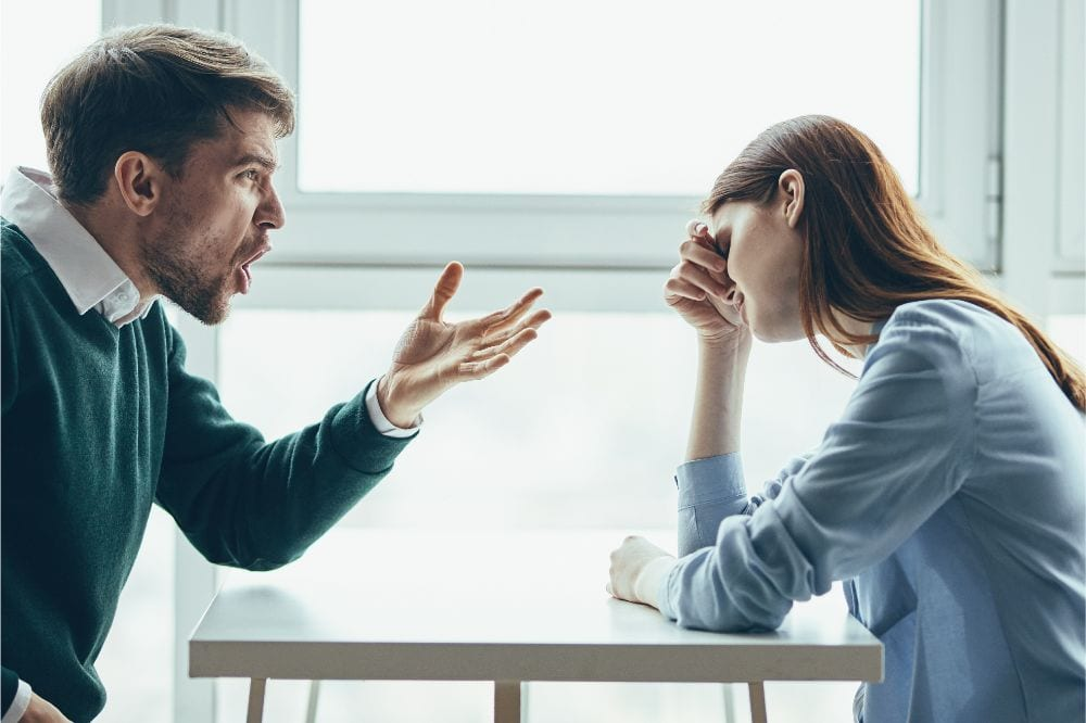 young couple in a cafe emotions dispute conflict quarrel